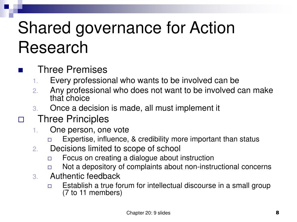 Shared governance for Action Research