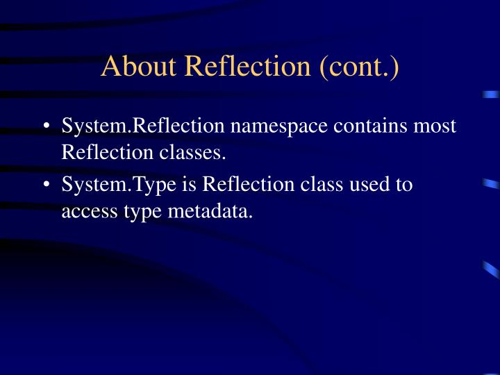 About reflection cont