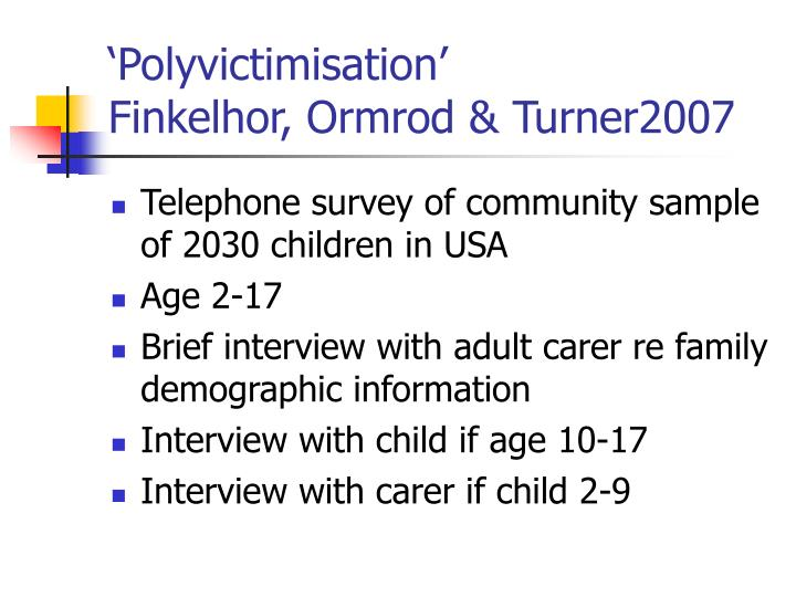 'Polyvictimisation'