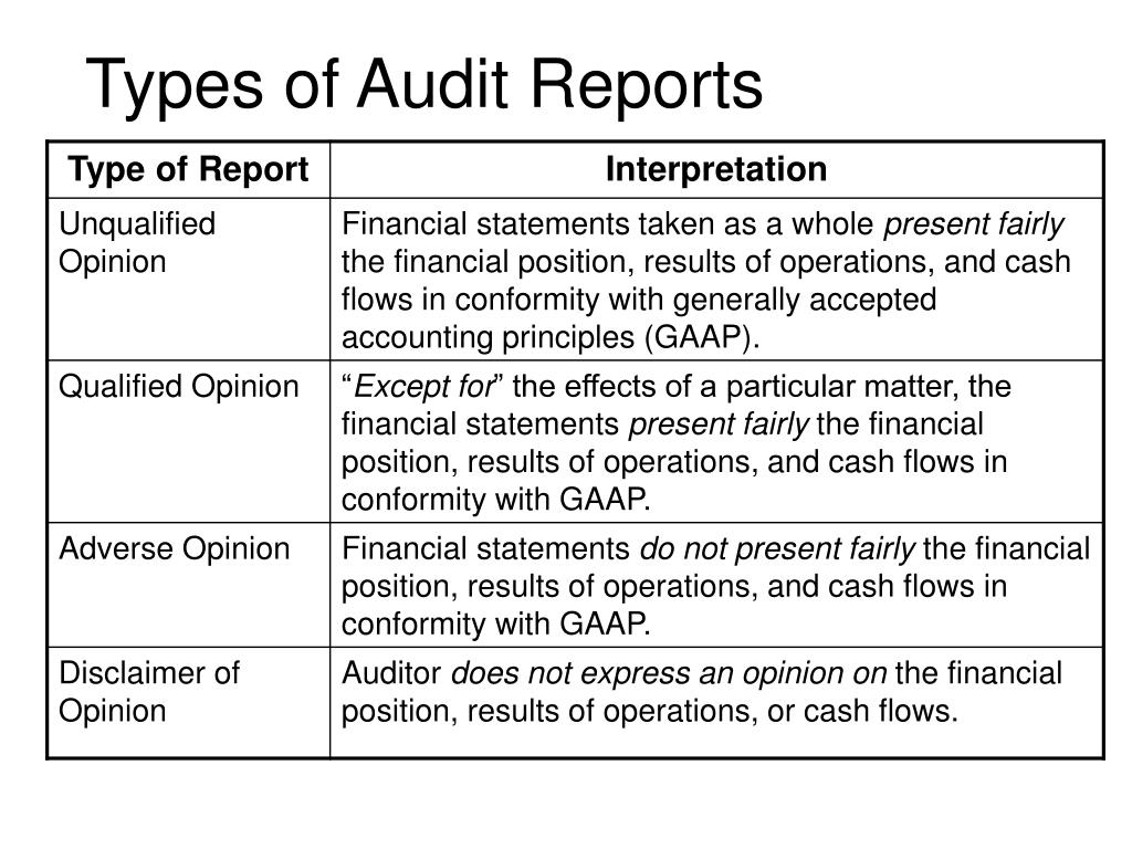 Types of Audit Reports