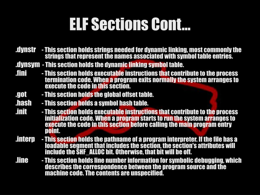 ELF Sections Cont…