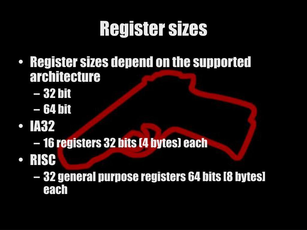 Register sizes