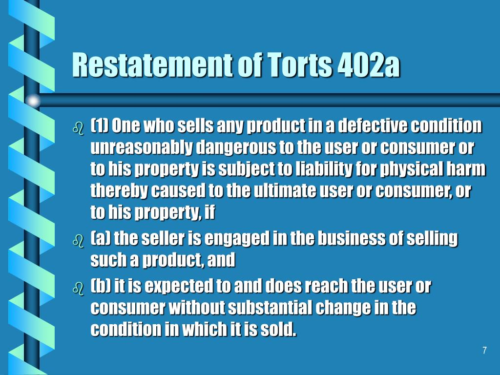 Restatement of Torts 402a