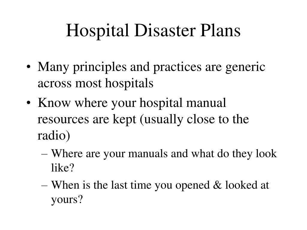 Hospital Disaster Plans