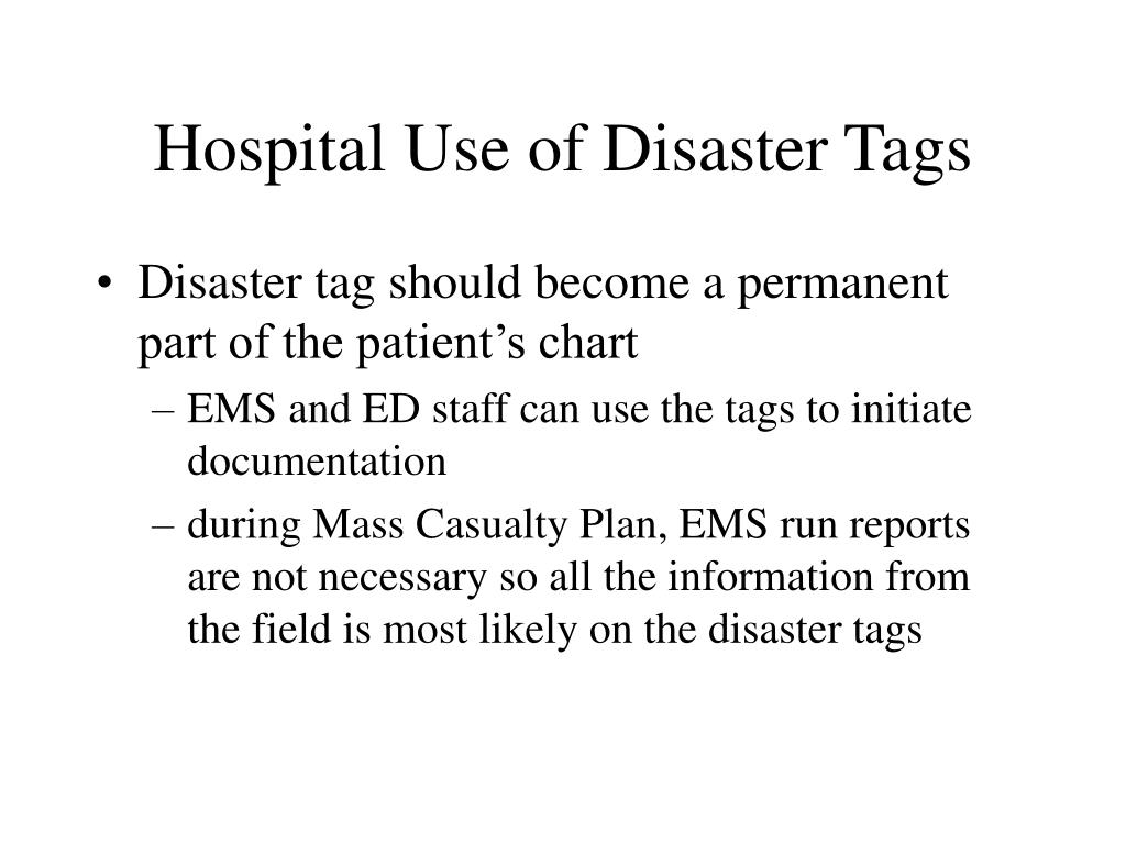 Hospital Use of Disaster Tags