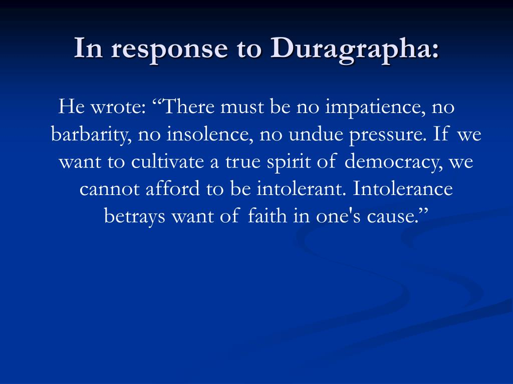 In response to Duragrapha: