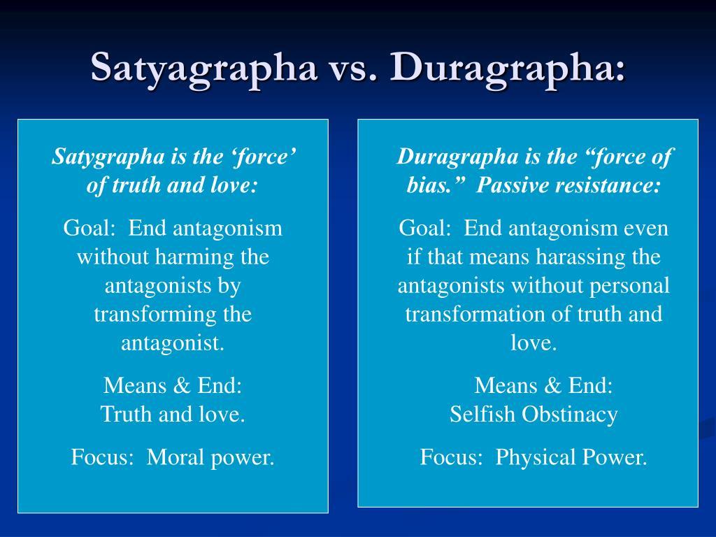 Satyagrapha vs. Duragrapha: