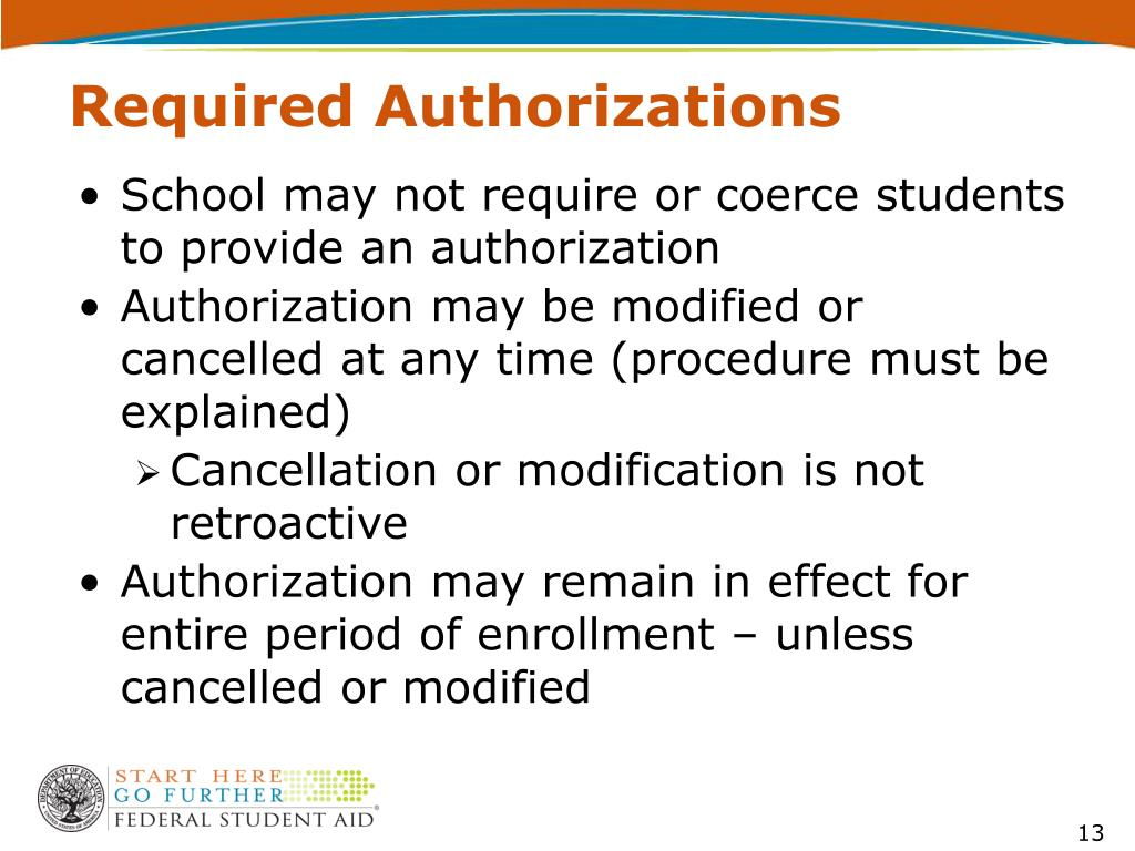 Required Authorizations
