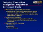 designing effective risk management programs for government clients