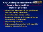 key challenges faced by the bank in building risk transfer systems