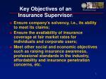 key objectives of an insurance supervisor