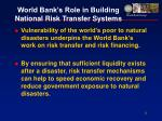 world bank s role in building national risk transfer systems