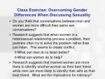 class exercise overcoming gender differences when discussing sexuality