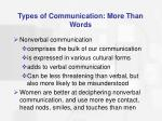 types of communication more than words