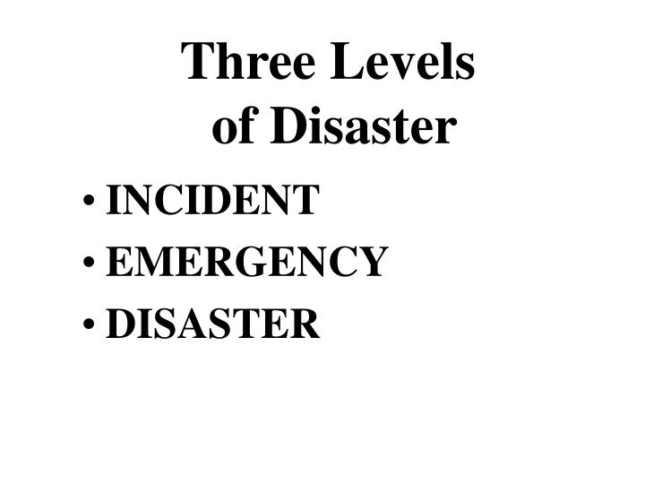 Three levels of disaster