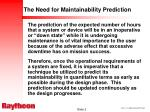 the need for maintainability prediction