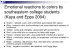 emotional reactions to colors by southeastern college students kaya and epps 2004