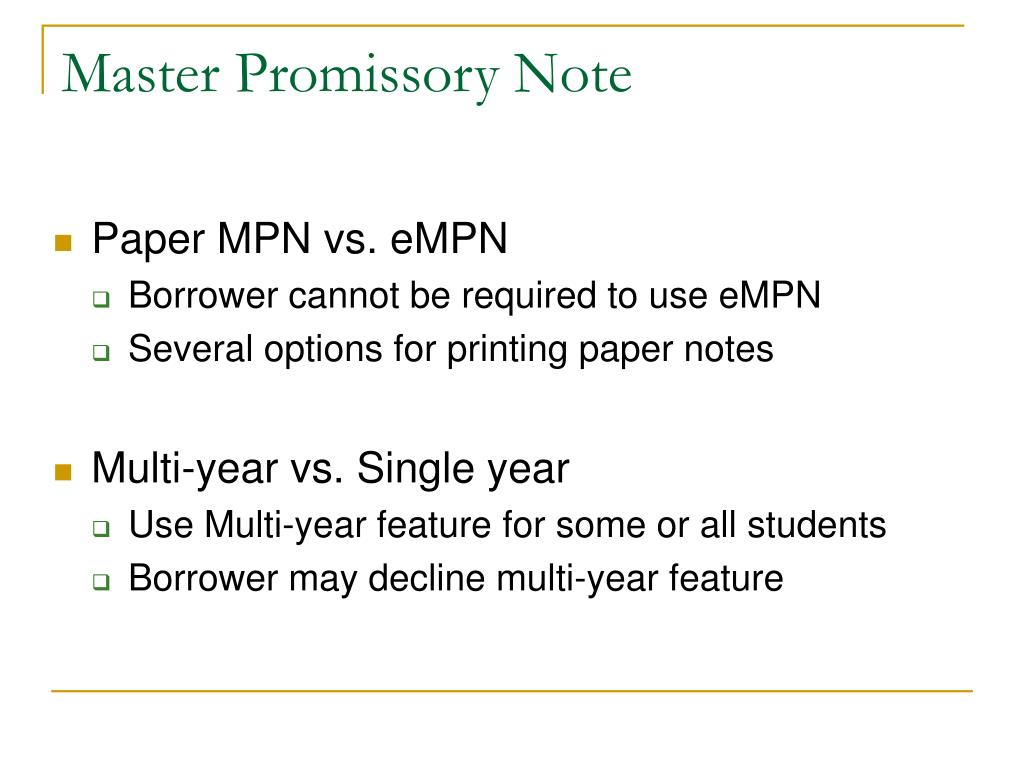 Master Promissory Note