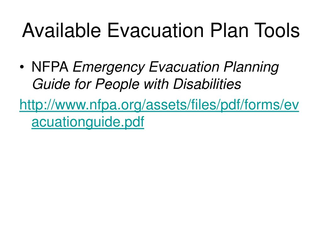 Available Evacuation Plan Tools