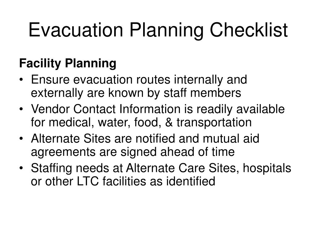 Evacuation Planning Checklist