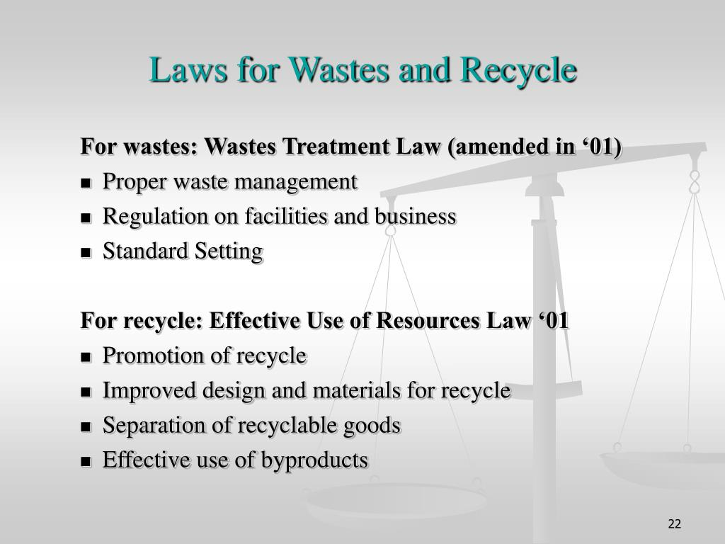 Laws for Wastes and Recycle
