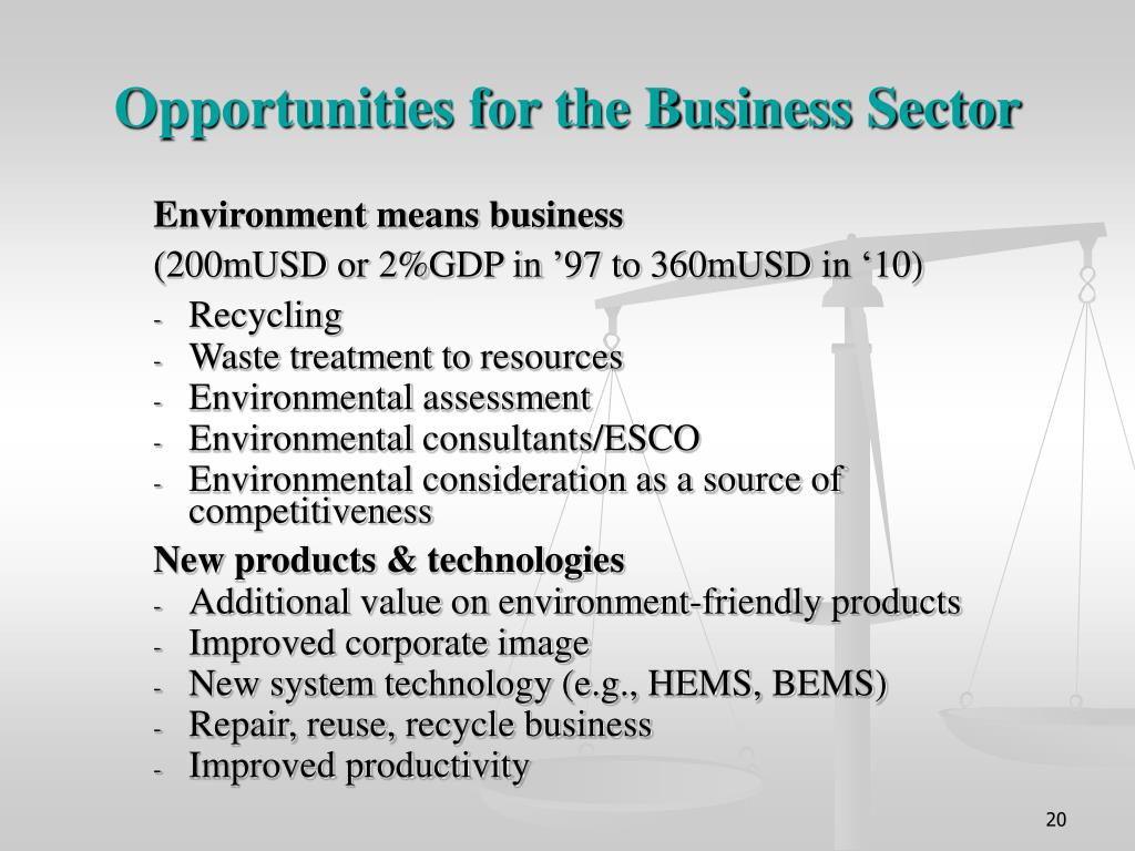 Opportunities for the Business Sector
