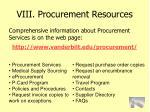 viii procurement resources