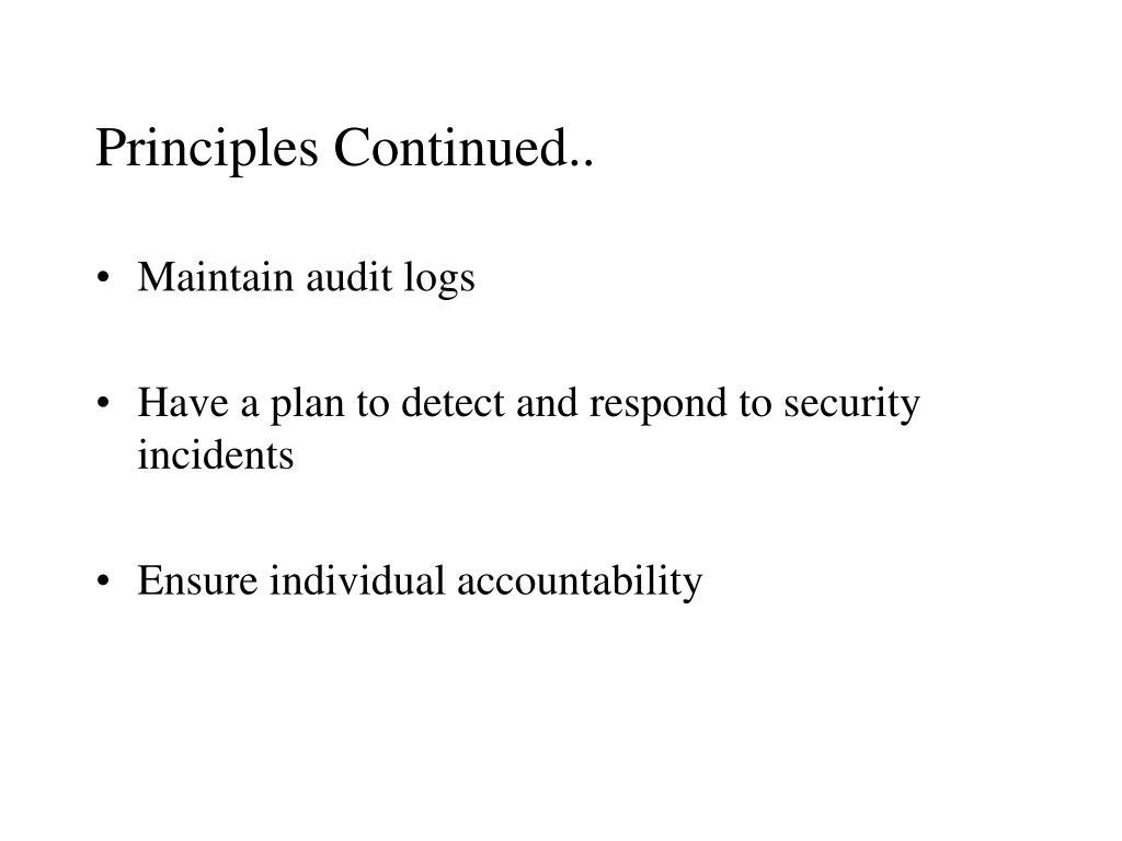 Principles Continued..