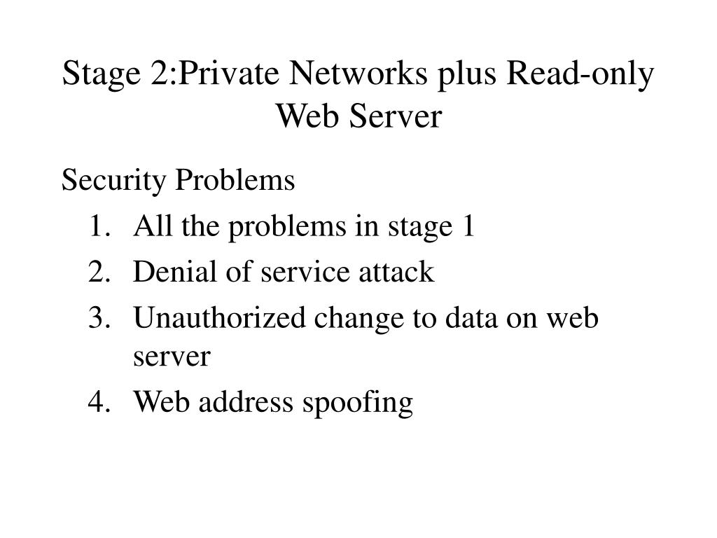 Stage 2:Private Networks plus Read-only Web Server
