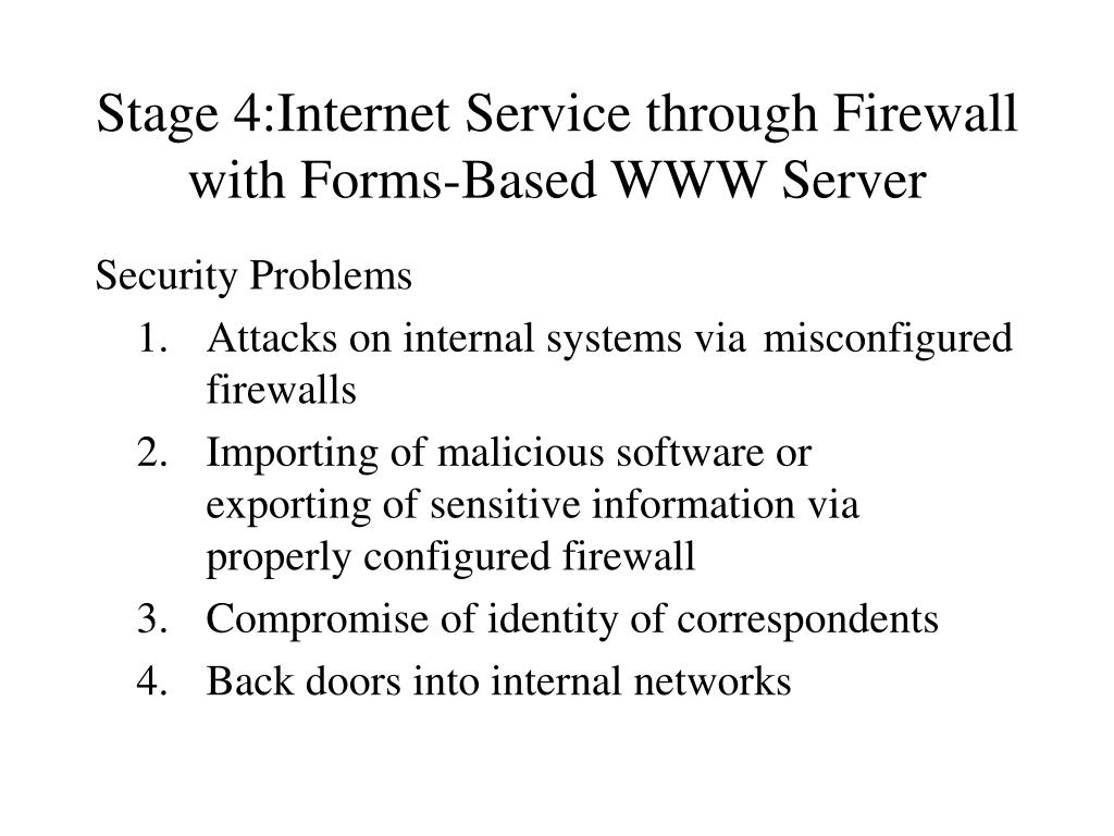Stage 4:Internet Service through Firewall with Forms-Based WWW Server