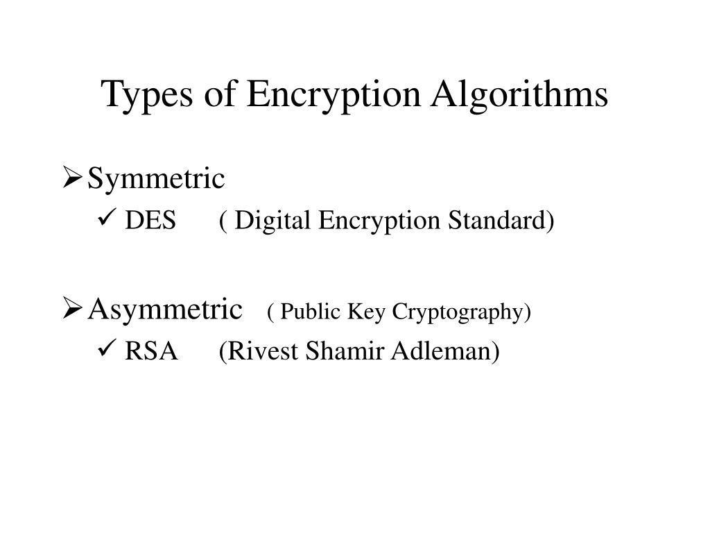 Types of Encryption Algorithms