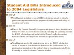 student aid bills introduced to 2004 legislature
