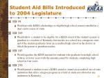 student aid bills introduced to 2004 legislature26
