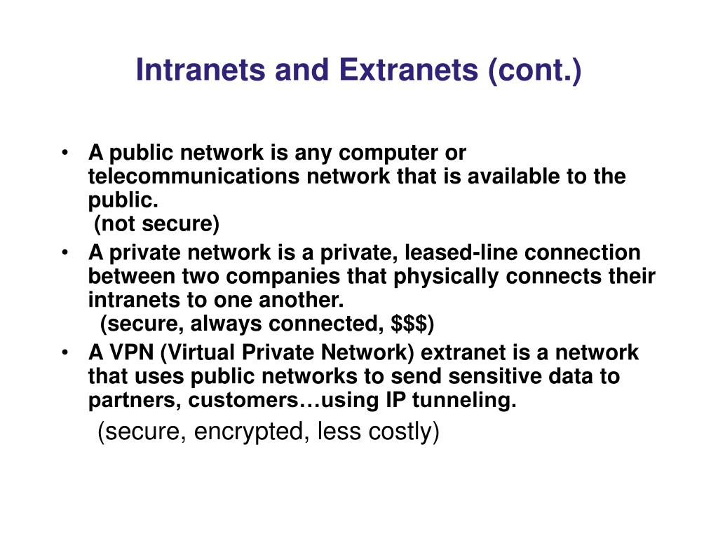 Intranets and Extranets (cont.)