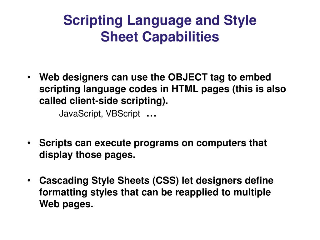 Scripting Language and Style