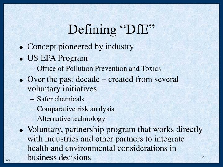 Defining dfe