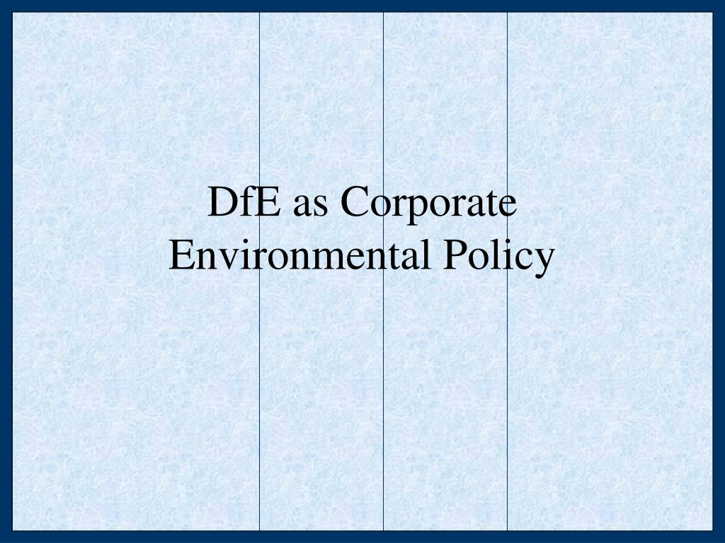 DfE as Corporate