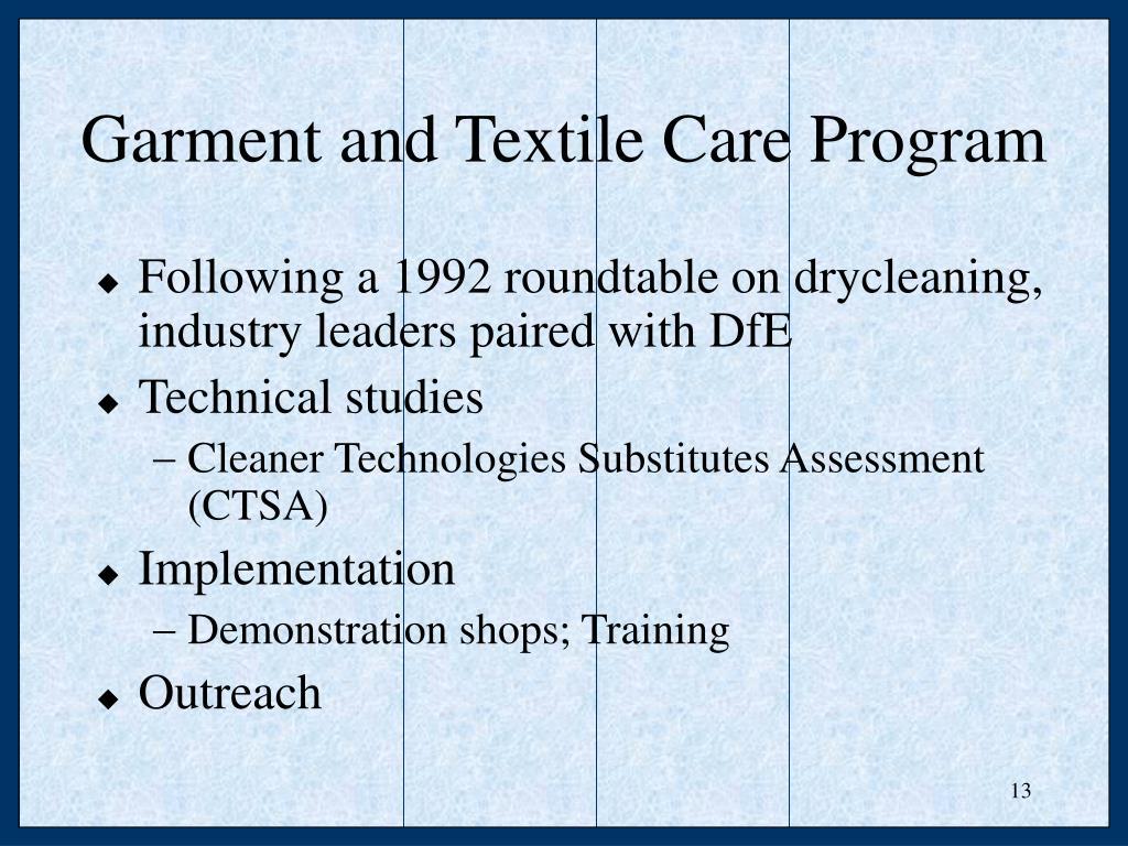 Garment and Textile Care Program