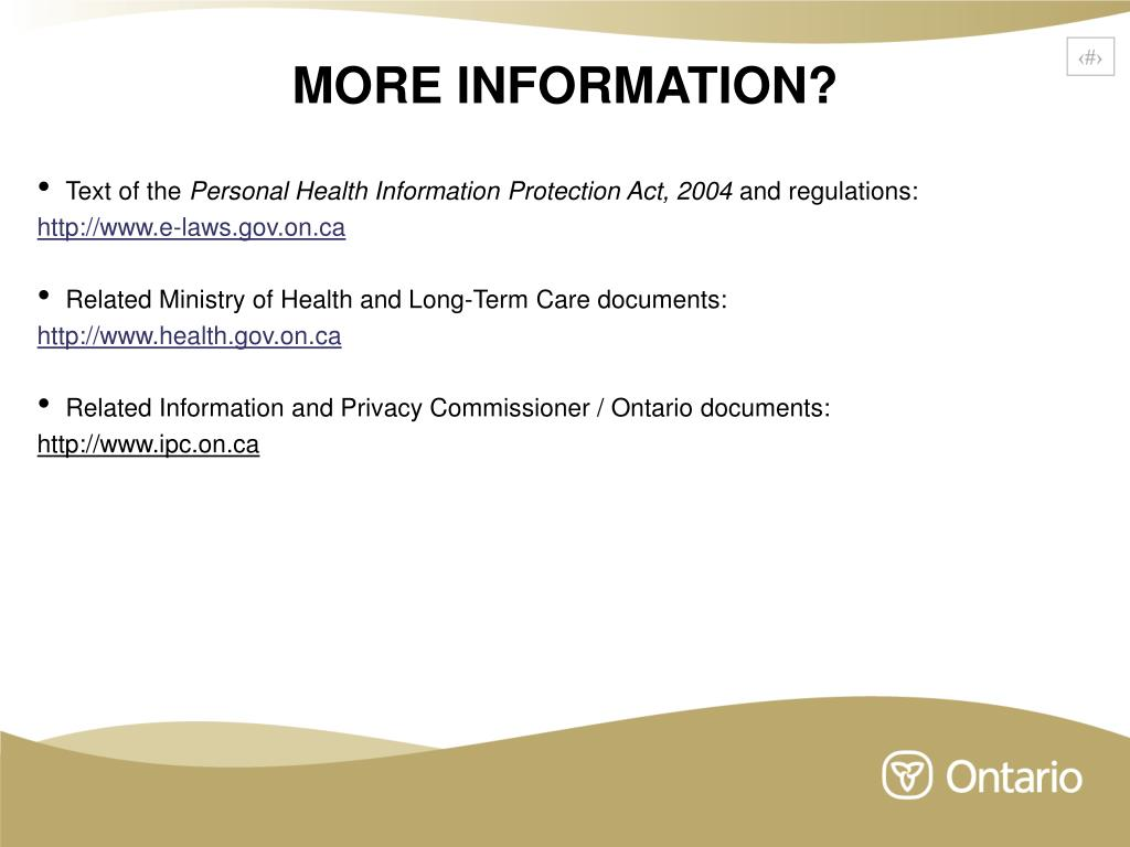 PPT - Personal Health Information Protection Act, 2004: An Overview