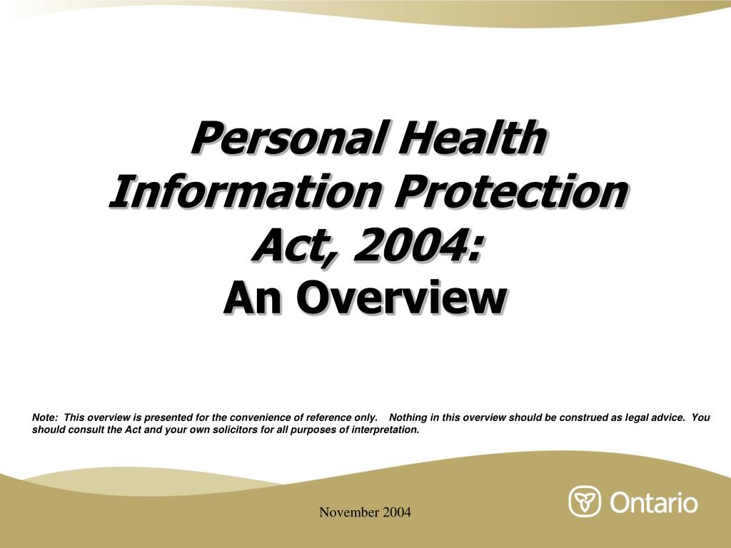 personal health information protection act 2004 an overview