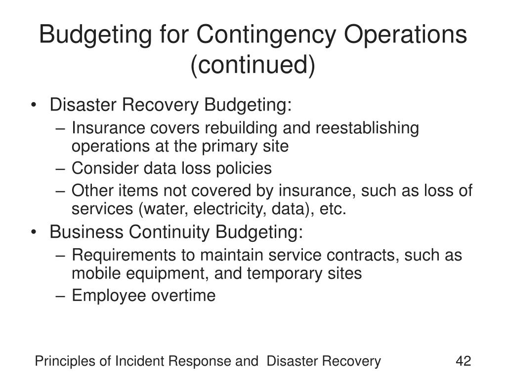 Budgeting for Contingency Operations (continued)