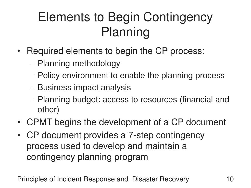 Elements to Begin Contingency Planning