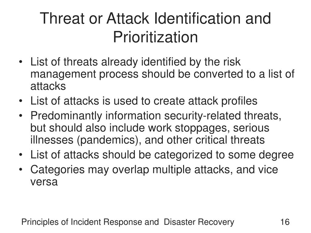 Threat or Attack Identification and Prioritization
