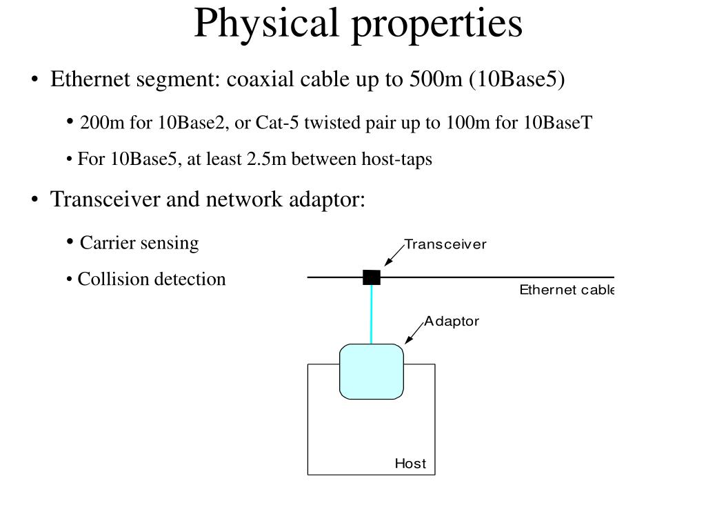 Ethernet segment: coaxial cable up to 500m (10Base5)