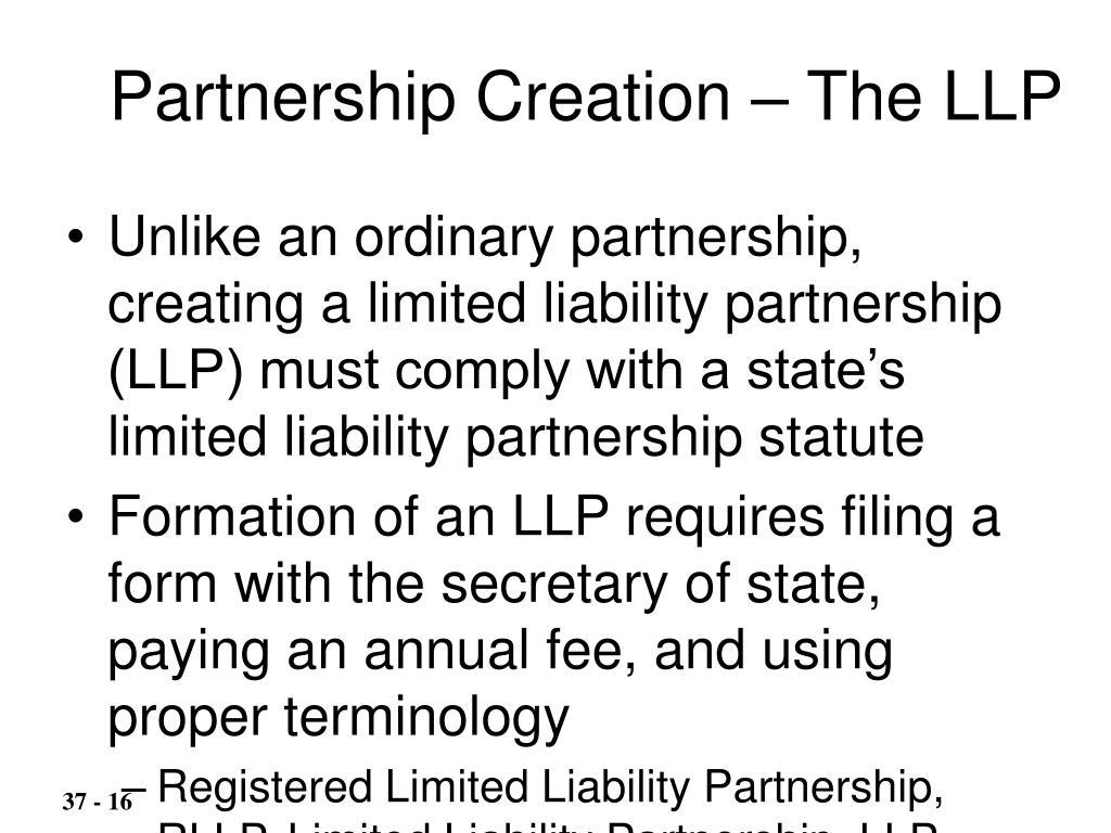 Partnership Creation – The LLP