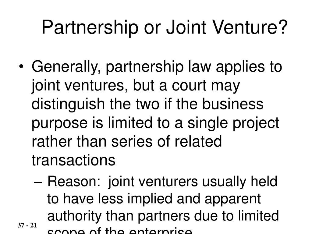 Partnership or Joint Venture?