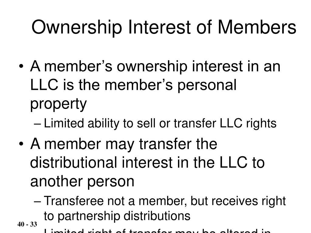 Ownership Interest of Members