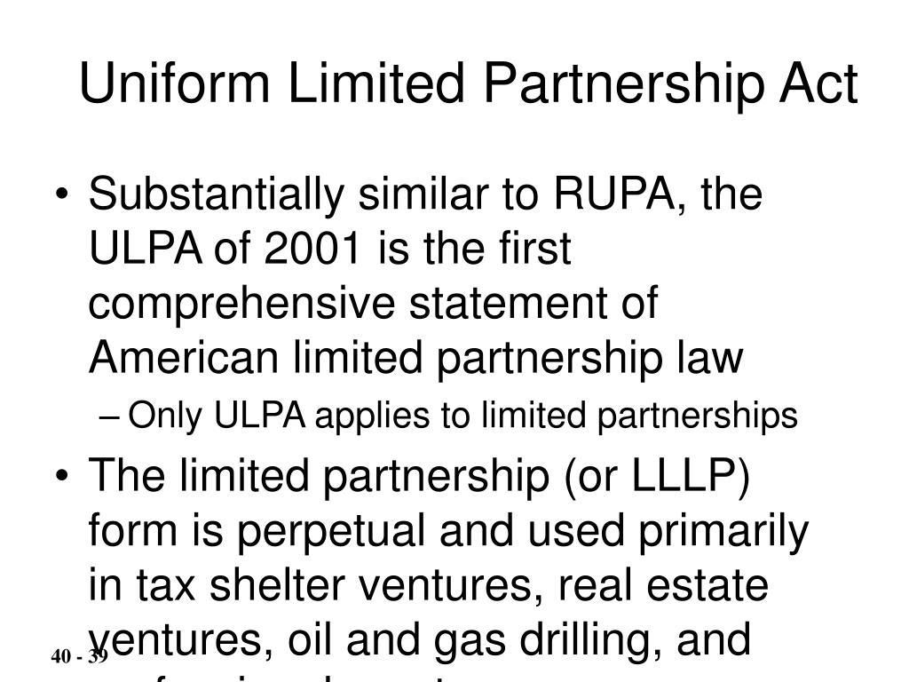 Uniform Limited Partnership Act
