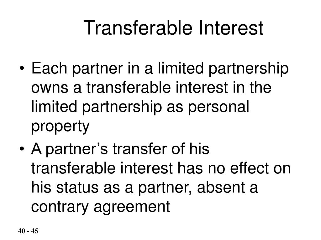 Transferable Interest