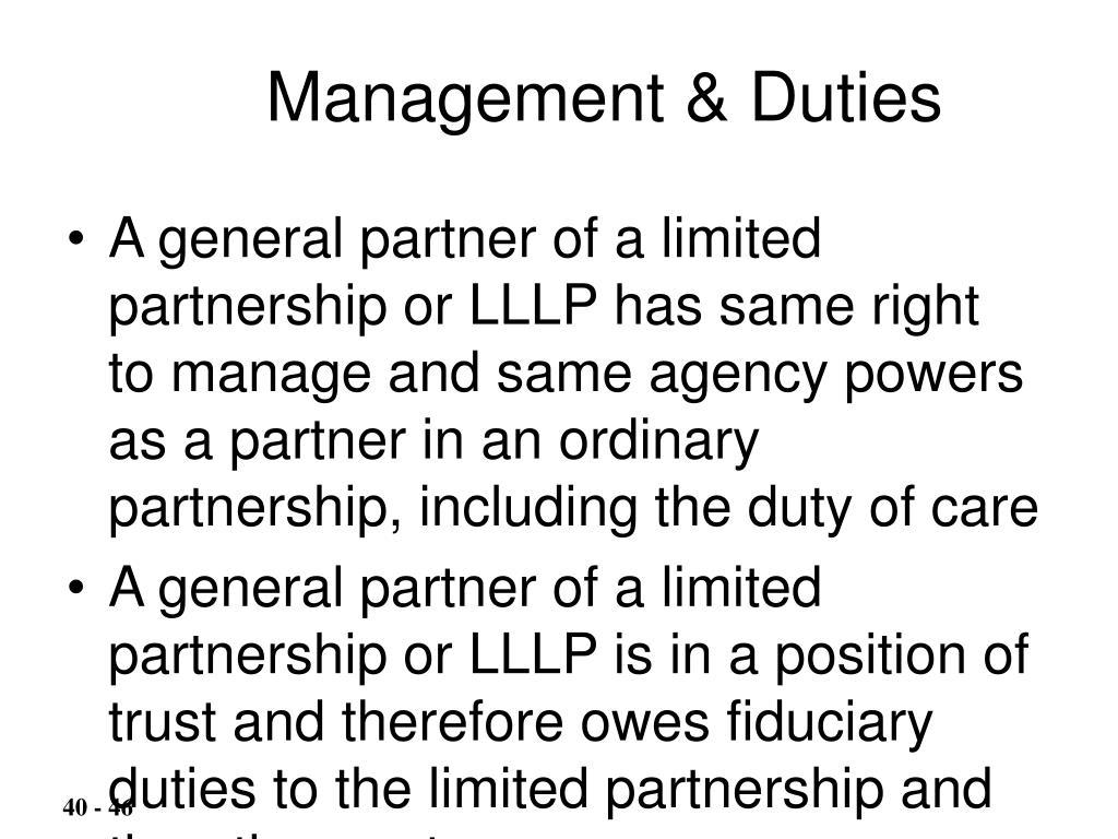 Management & Duties